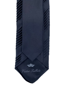 Black Pleated Necktie with White Trimmed Pocket Square Set