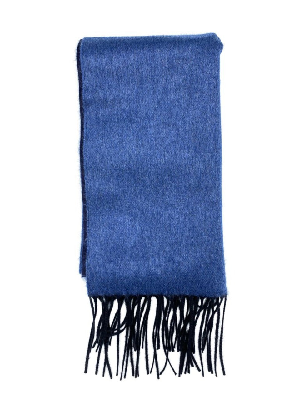blue double panel silk & cashmere scarf made in italy