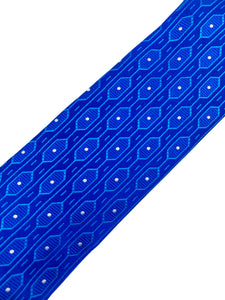 Royal Blue Octagon with Random White Pin Dot Necktie & Pocket Square Set