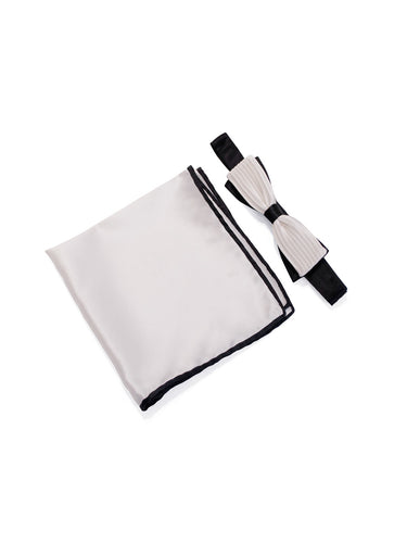 White & Black Pleated Cigar Bow Tie & Pocket Square Set