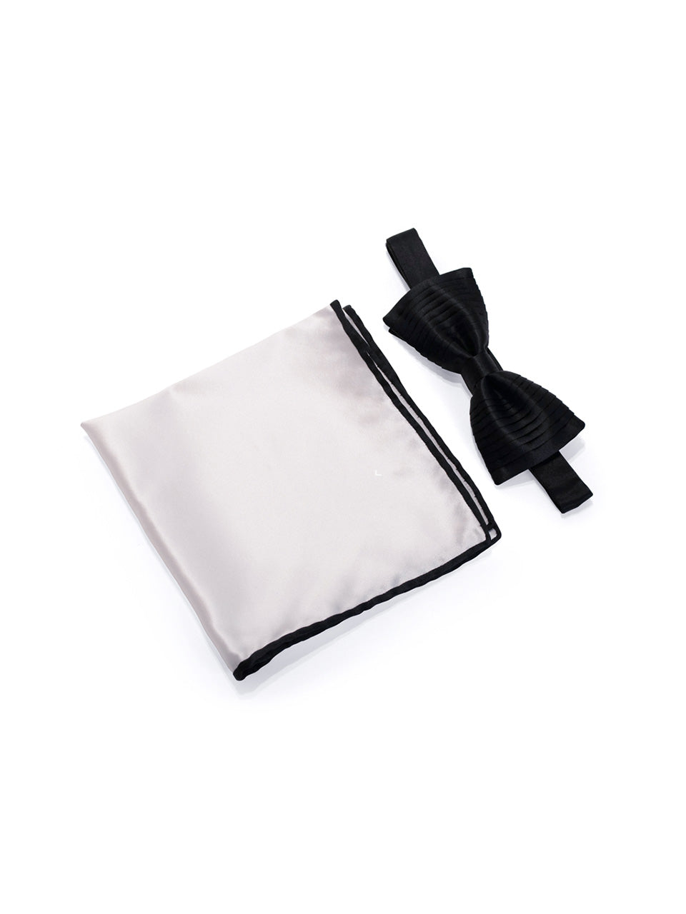 Black Vertical Pleated Silk Bow Tie & Solid Pocket Square Set