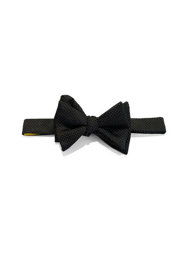 Black & White Woven Pindot Self Bow Tie