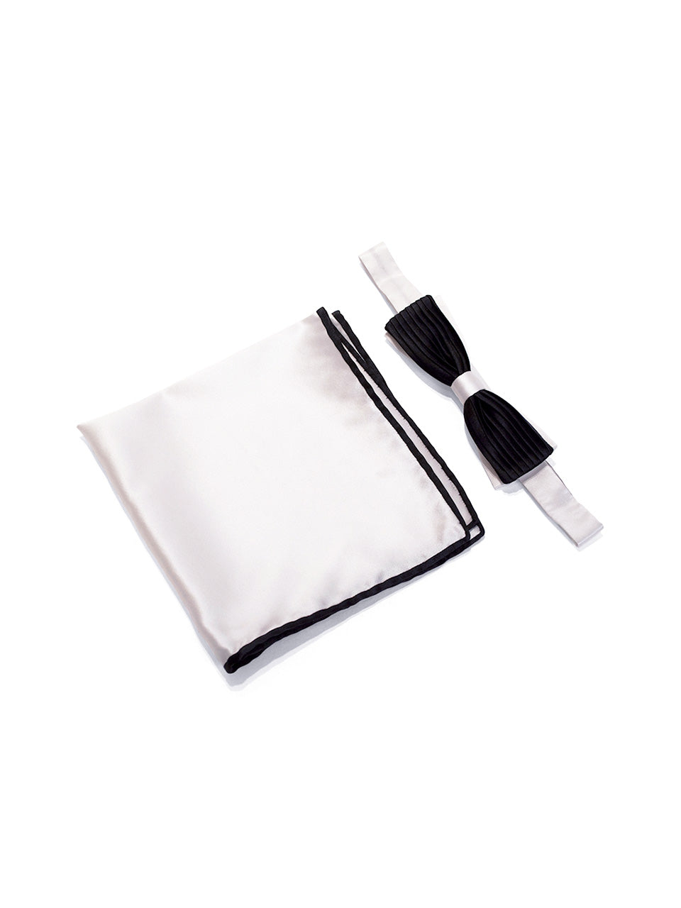 Black & White Pleated Cigar Bow Tie & Pocket Square Set