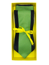 Load image into Gallery viewer, Emerald Green Dot Inset with Black Pleated Border Detail Necktie & Pocket Square Set