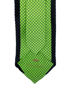 Emerald Green Dot Inset with Black Pleated Border Detail Necktie & Pocket Square Set