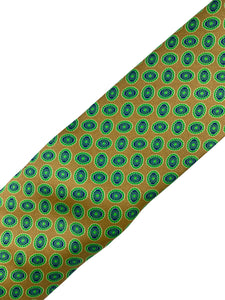 Brown with Green & Navy Random Neat Pattern Necktie & Pocket Square Set
