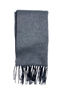 grey double panel silk & cashmere scarf made in italy