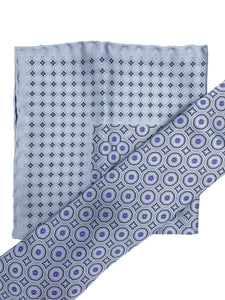 Lavender & Grey Circle Neat Necktie & Pocket Square Set