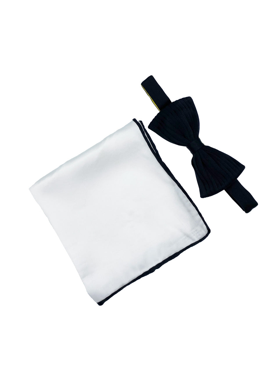 Black Horizontal Pleated Silk Bow Tie & Solid Pocket Square Set