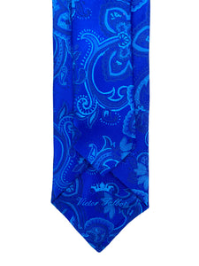Royal Blue & Light Blue Jacquard Necktie & Pocket Square Set