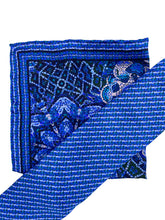 Load image into Gallery viewer, Navy Mosaic Necktie & Pocket Square Set
