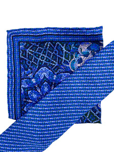Navy Mosaic Necktie & Pocket Square Set