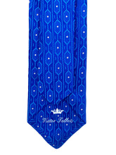 Load image into Gallery viewer, Royal Blue Octagon with Random White Pin Dot Necktie & Pocket Square Set