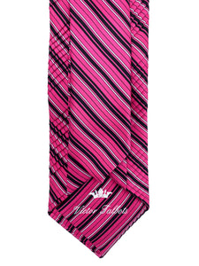 Pink with Black & White Repp Stripe Pleated Necktie & Pocket Square Set