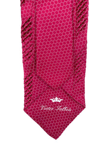 Pink with White Circle Chainlink Pleated Necktie & Pocket Square Set