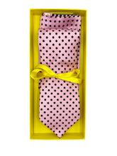 Load image into Gallery viewer, Light Pink with Black Polka Dot Necktie & Double Panel Pocket Square Set