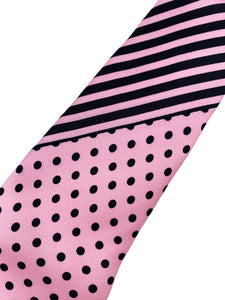 Light Pink with Black Polka Dot Necktie & Double Panel Pocket Square Set