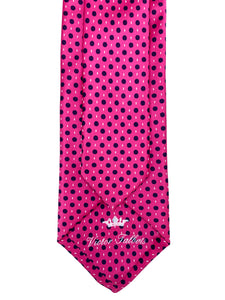 Pink with Black & White Dress Pin Dot Necktie & Pocket Square Set
