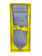 Load image into Gallery viewer, Lavender & Grey Circle Neat Necktie & Pocket Square Set