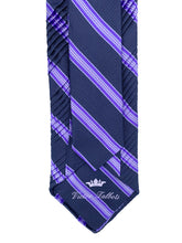 Load image into Gallery viewer, Midnight Blue with Lavender & Grey Repp Stripe Pleated Necktie & Pocket Square Set