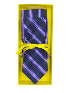 Midnight Blue with Lavender & Grey Repp Stripe Pleated Necktie & Pocket Square Set