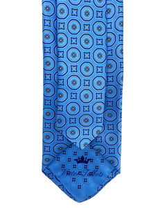 Light Blue & Grey Circle Neat Necktie & Pocket Square Set
