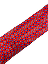Load image into Gallery viewer, Red with Navy Neat Dot Necktie & Pocket Square Set