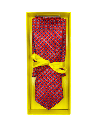 Red with Navy Neat Dot Necktie & Pocket Square Set