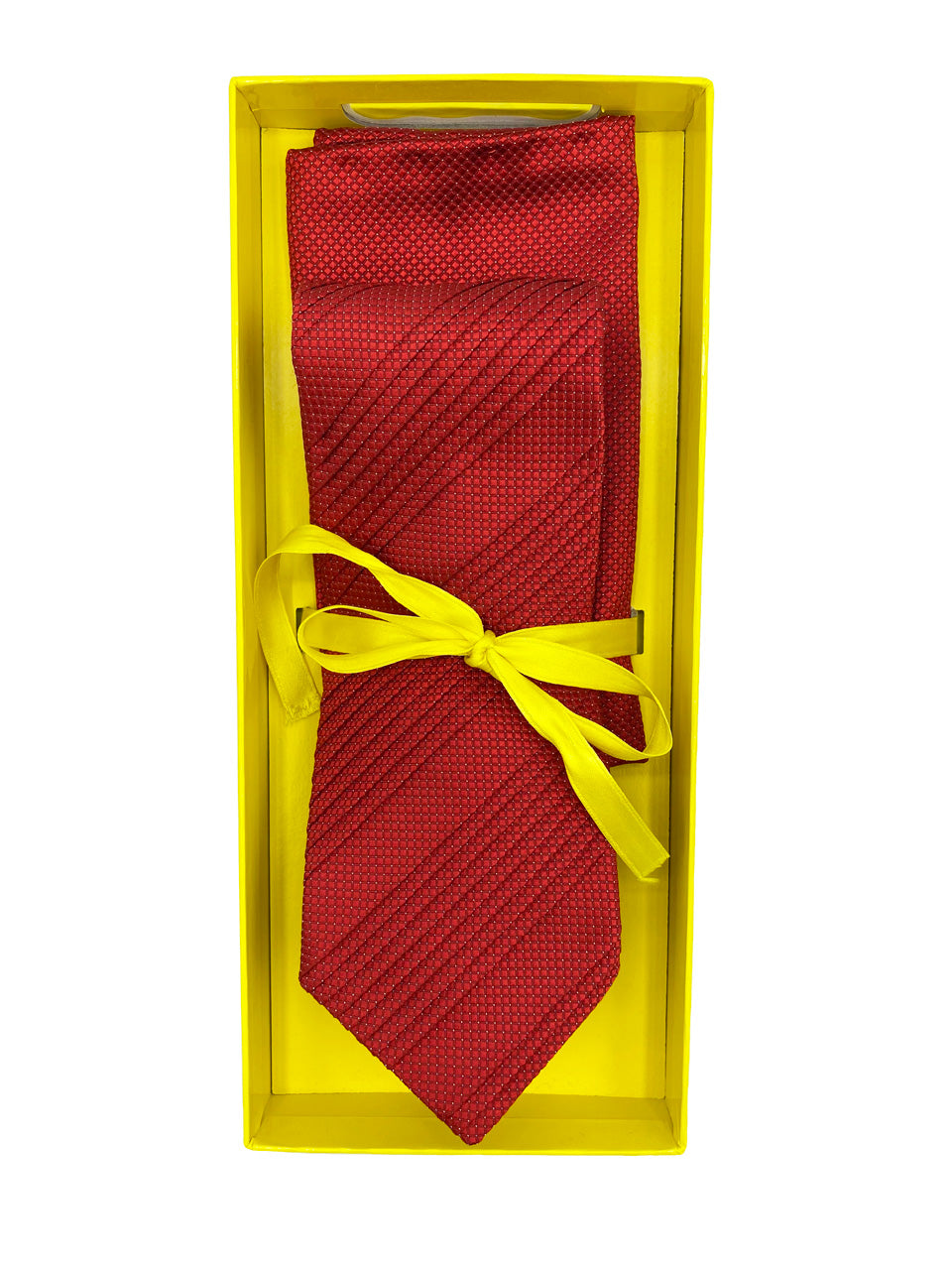 Red & White Diamond Check Pleated Necktie & Pocket Square Set