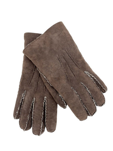 chocolate brown shearling gloves