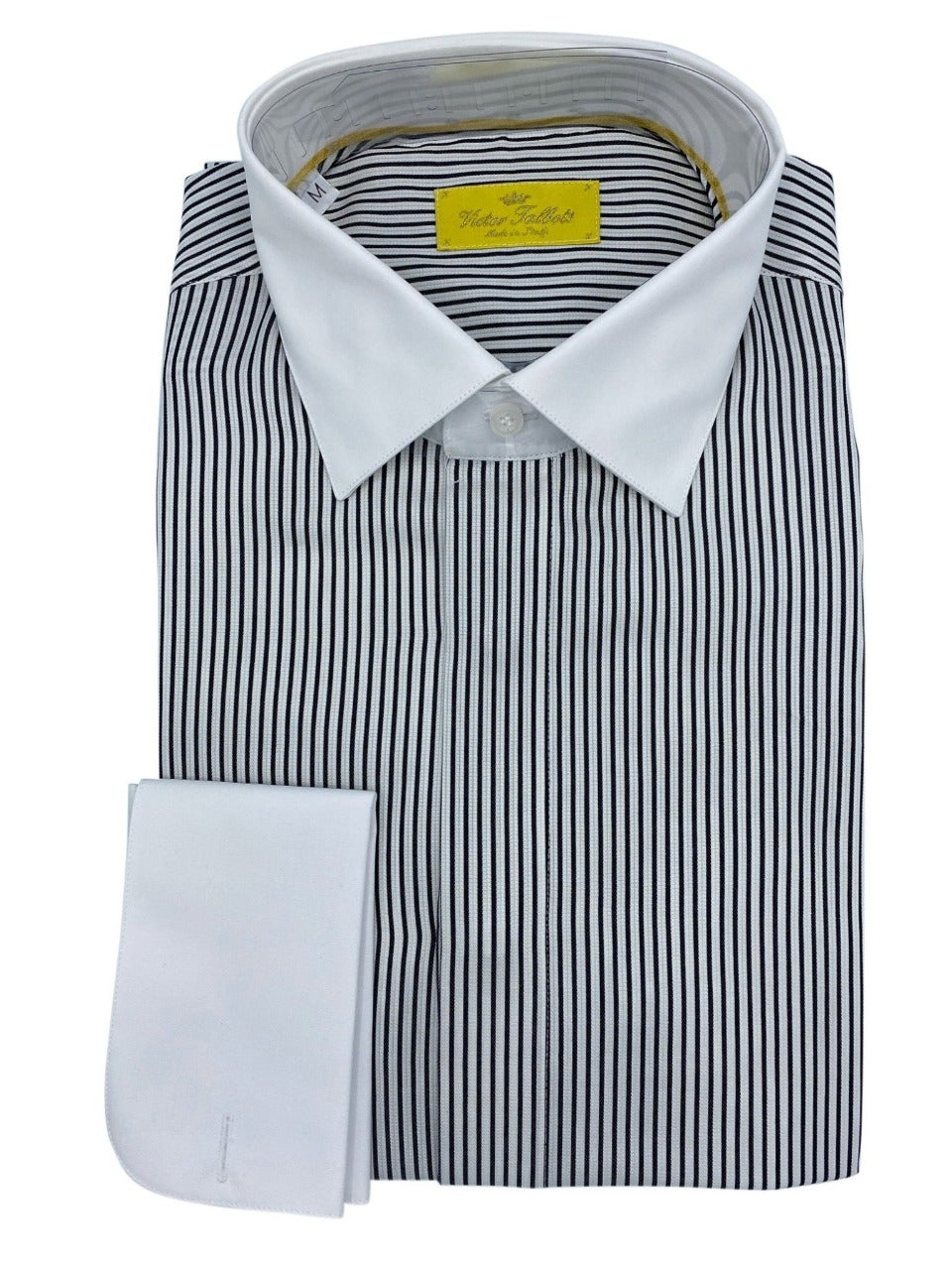 victor talbots midnight blue & white striped shirt made in italy