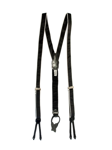 Black Silk Braces with White Piping made in canada