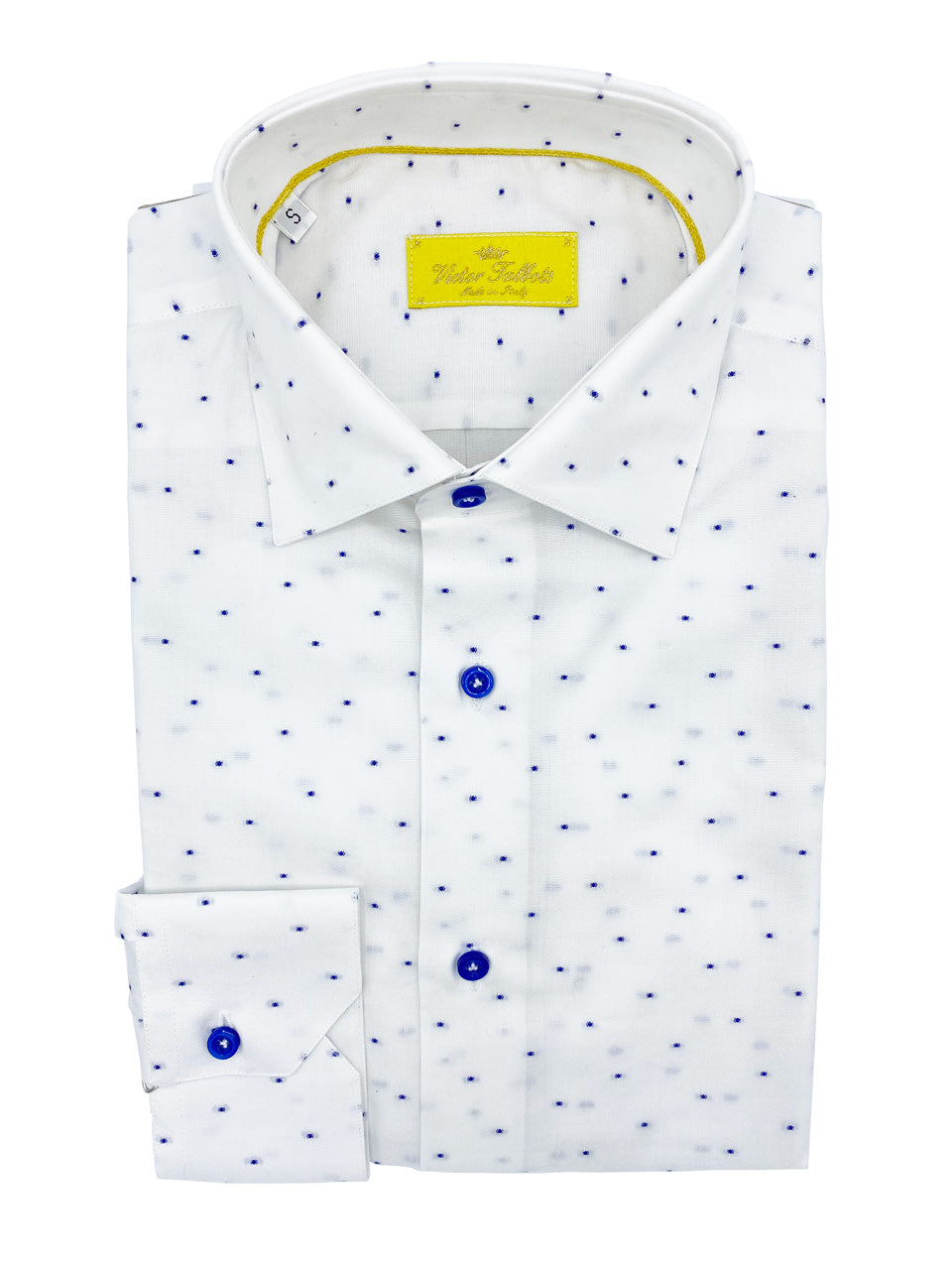 White Lino Shirt with Raised Navy Dot