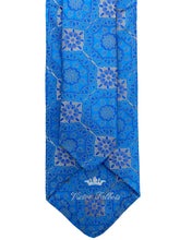 Load image into Gallery viewer, Blue & Grey Artisanal Woven Necktie & Pocket Square Set