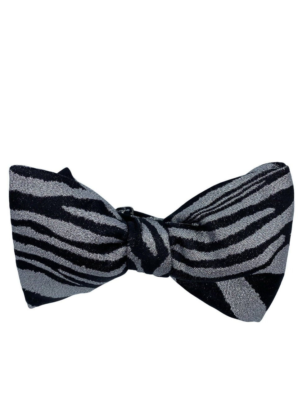 silver lurex pre tied bow made in italy