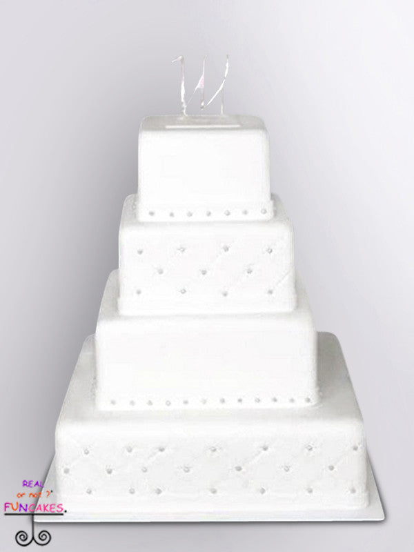 white quilted 4 tier square cake