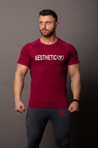 "T-shirt ""Aesthetic"" Burgund/White"