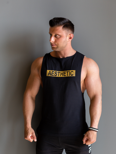 "Tank Sleeveless ""Reverse"" Black/Gold"