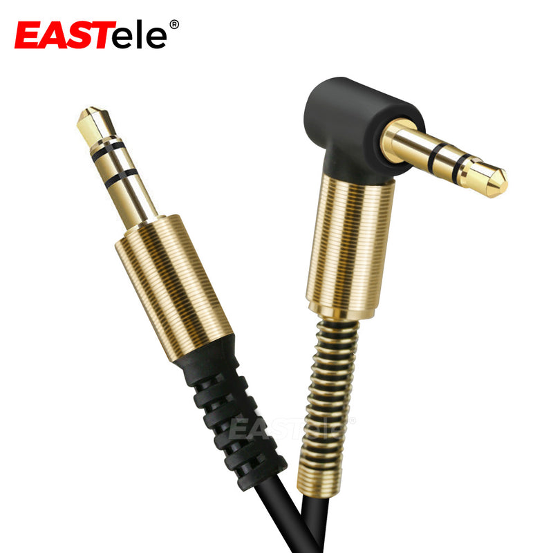 90 Degree 3.5mm Stereo Audio Cord Male-to-Male AUX Cable 1M
