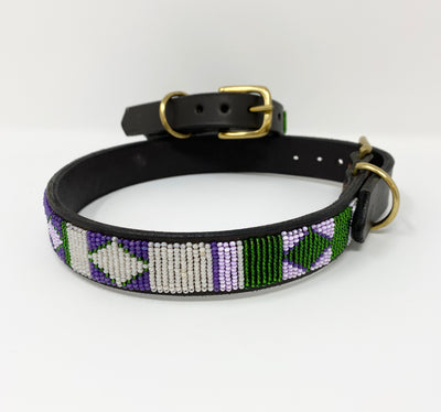 Beaded Leather Dog Collar - Yesterday, Today and Tomorrow