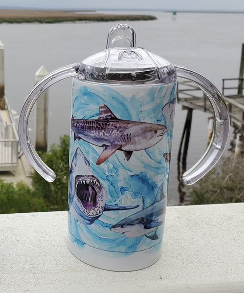 Shark Sippy Cup - Stainless Steel Watercolor