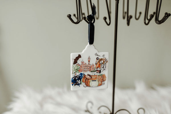 War Eagle Watercolor Ornament