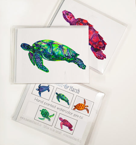 Sea Turtle Watercolor Card Set