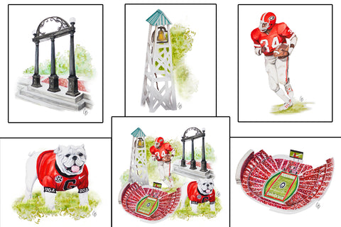 UGA Watercolor Painting Prints