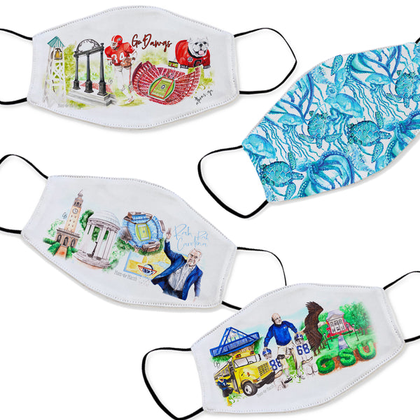 Watercolor Printed Face Masks