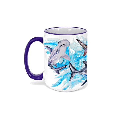Shark Mug 15oz - Ceramic Watercolor
