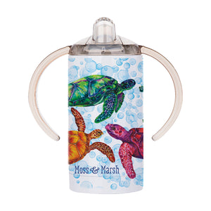 Sea Turtle Sippy Cup - Stainless Steel Watercolor