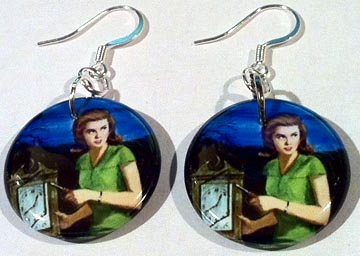 Vintage Art Nancy Drew Button Earrings