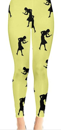 Nancy Drew Yellow & Black Silhouette Leggings