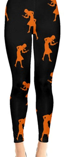 Nancy Drew Black & Orange Silhouette Leggings